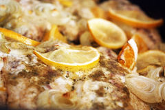 Dinner with marinated fish, onion and orange Stock Images