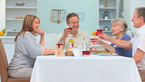 A dinner between mature friends Royalty Free Stock Images