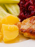 Dinner meal. Fried chicken potatos salad on plate. Royalty Free Stock Photo