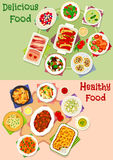 Dinner meal icon set for healthy food design Stock Photography