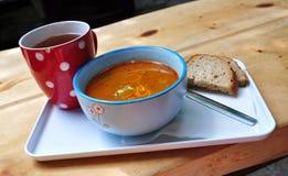 Dinner meal, lentil soup Stock Images