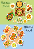 Dinner with meat, veggies and mushroom icon set Stock Images