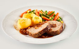 Dinner of Meatloaf, Potatoes, and Mixed Vegetables Stock Photo
