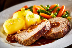 Dinner of Meatloaf, Potatoes, and Mixed Vegetables Royalty Free Stock Images