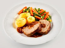 Dinner of Meatloaf, Potatoes, and Mixed Vegetables Stock Images