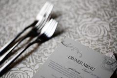 Dinner menu. Close up shot of a dinner menu on a table Stock Photos