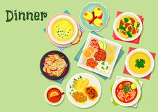 Dinner menu dishes with exotic fruit dessert icon Stock Image