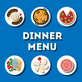 Dinner menu, modern flat icon Stock Photos