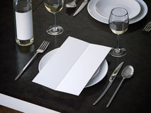 Dinner menu on the white plate. 3d rendering. Dinner menu on the white plate. in restaurant 3d rendering Royalty Free Stock Image