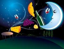 Dinner in the moonlight. Vector illustration of the dinner in the moonlight with tasty food Royalty Free Stock Image