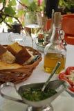 Dinner in outdoor restaurant Stock Photos