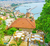 Dinner over Alanya roofs Stock Photo