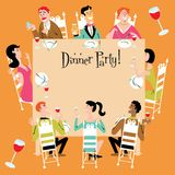 Dinner Party. Invitation with a variety of men, women, teenager, grandma, gay or straight couples Stock Photo