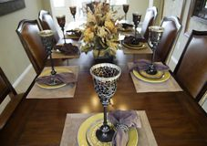 Dinner Party. Large dining table preparation for a dinner party Royalty Free Stock Photo