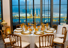 Dinner Party with Blue Water View, Corporate Event Tables Decoration, Lecture Banquet Royalty Free Stock Photos