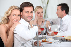 Dinner party discussions Stock Photo