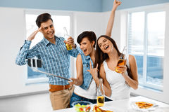 Dinner Party. Friends Having Fun, Taking Selfie. Holiday Celebra Royalty Free Stock Image