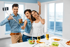 Dinner Party. Friends Having Fun, Taking Selfie. Holiday Celebra. Dinner Party At Home. Friends Having Fun, Taking Self-portrait Photo Using Smartphone Selfie Royalty Free Stock Photography