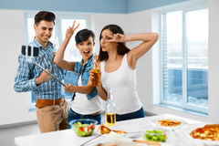Dinner Party. Friends Having Fun, Taking Selfie. Holiday Celebra Stock Photography