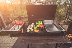 Dinner party, grilled vegetables Stock Image