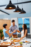 Dinner Party Home. Friends Having Fun, Celebrating. Friendship, Stock Image