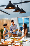 Dinner Party Home. Friends Having Fun, Celebrating. Friendship, Stock Photo