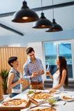 Dinner Party Home. Friends Having Fun, Celebrating. Friendship, Stock Photo