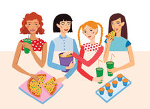 Dinner Party Movie Night With Four Cute Girls Friends Vector Illustration. Ginger, Brunette, Blond And Brown Haired Stock Images