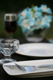 Dinner Party table. An outdoor table set for a dinner party Royalty Free Stock Images