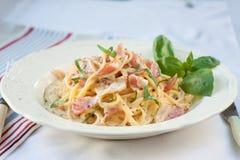Dinner. Pasta carbonara Royalty Free Stock Image
