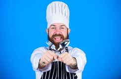 Dinner pause. Healthy food cooking. Chef man in hat. Secret taste recipe. Vegetarian. Mature chef with beard. Dieting royalty free stock photography