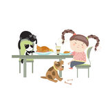 Dinner with pets Royalty Free Stock Photo