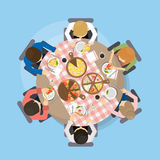Dinner with pizza. People eat pizza dish on the table royalty free illustration