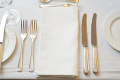 Dinner Place. Table settings for fine dining Royalty Free Stock Images