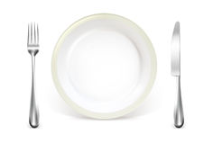 Dinner place setting. On the white Royalty Free Stock Photography