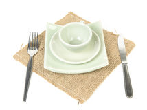 Dinner place setting. Isolated on white background stock photos