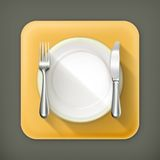Dinner place setting. Vector flat icons Stock Photos