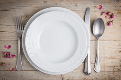 Dinner place setting in vintage style Royalty Free Stock Photos