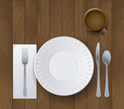 Dinner Placesetting on Wooden Background Illustration Stock Image