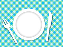 Dinner plate. Arrangement of dinner set on table cloth Stock Image