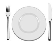 Dinner Plate. A vector illustration of an empty dinner plate, a fork and a knife Royalty Free Stock Photos
