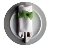 Dinner plate. Plate with ribbon, eating utensils Stock Photos
