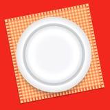 Dinner plate. White dinner plate on checked towel - vector illustration stock illustration