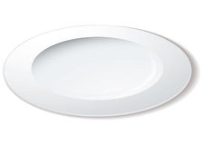 Dinner plate angle. Simple white plate drawn from an angle with shadow Royalty Free Stock Photos