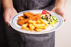 Cook serving diner - fried chicken strips, french fries and salad. Dinner on the plate in cook`s hands - fried chicken strips, french fries and salad. Kid`s meal stock photography
