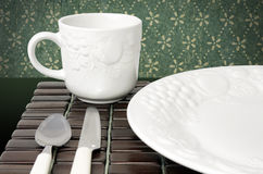 Dinner plate and cup Stock Image