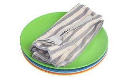 Dinner plate and cutlery kit Stock Photo