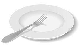 Dinner plate and fork. Simple white plate & fork drawn from an angle with shadow. Also in vector format (EPS8 Stock Photography