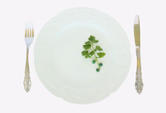 A dinner plate fork and knife. A dinner plate with peas and parsley and fork and knife arrangement isolated on a white background Royalty Free Stock Image