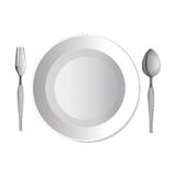 Dinner plate,fork and spoon. Vector illustration Royalty Free Stock Photos